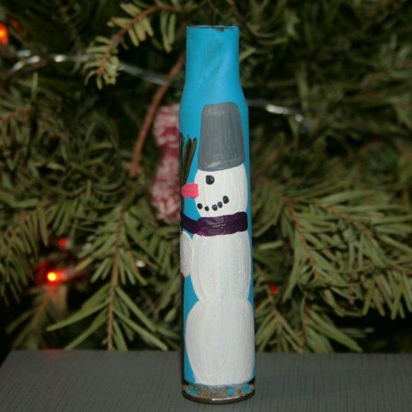 Сувенір - декорована гільза - сніговик