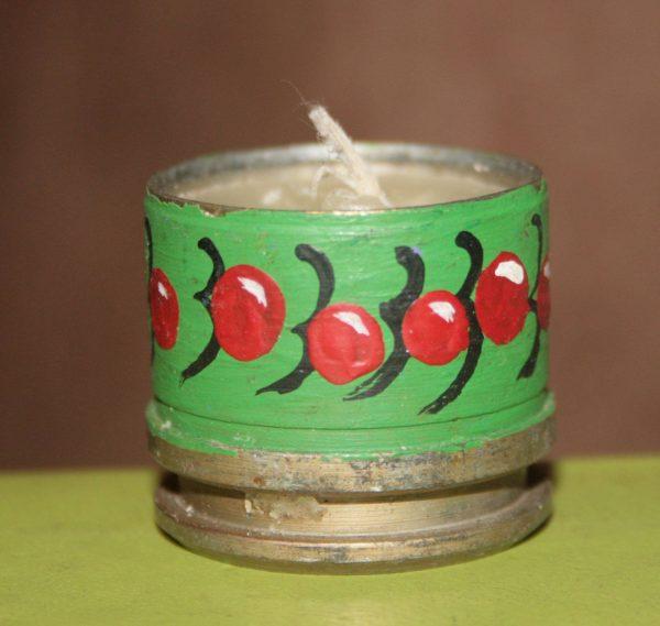 """Свічка декоративна з гільзи """"ягоди війни"""" зелена"""