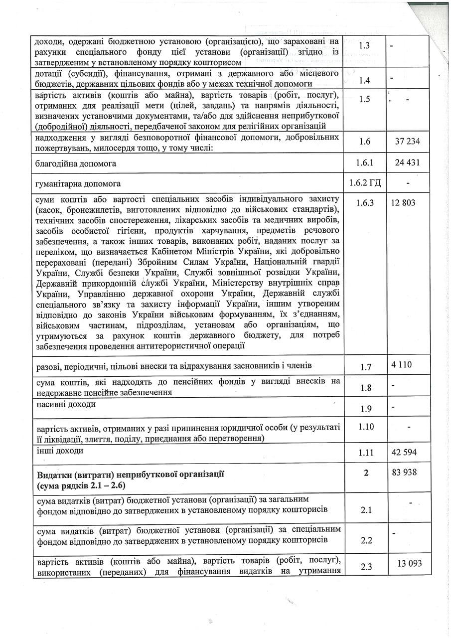 Податковий звіт 2018 сторінка 2