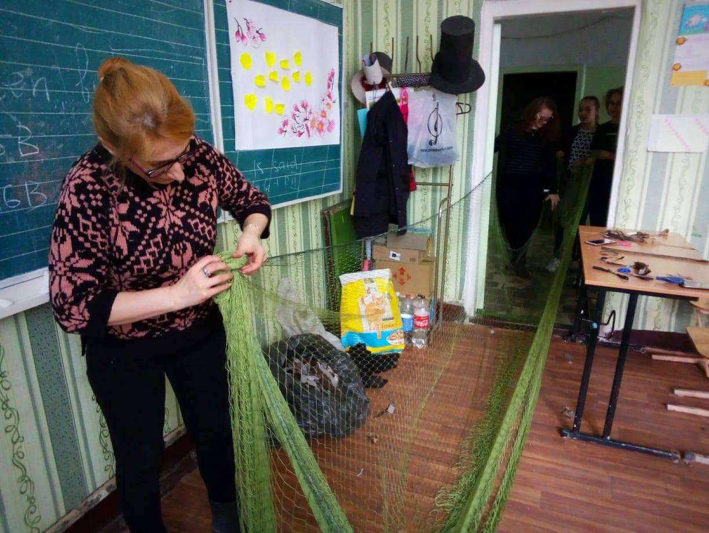 Підготовка сітки для плетення маскування