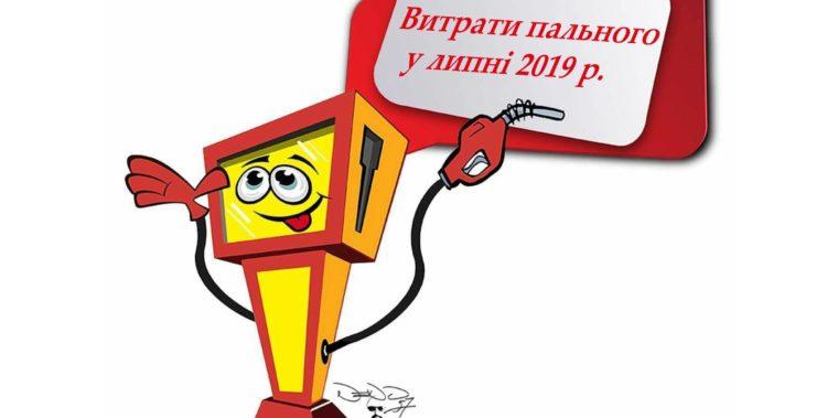 """Витрати пального БФ """"Зорі надії"""" у липні 2019"""