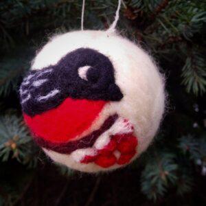 """Ялинкова кулька """"Снігур"""" з валяної шерсті"""